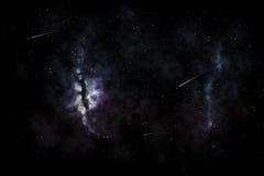 Estrellas fugaces y galaxia en espacio o cielo nocturno Fotografía de archivo libre de regalías