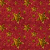 Estrellas inconsútiles del oro en de color rojo oscuro Imágenes de archivo libres de regalías