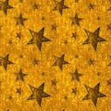 Estrellas inconsútiles del oro en el oro brillante Fotos de archivo