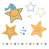 Estrellas lindas de la historieta con el sombrero y la cara sonriente feliz libre illustration