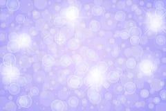 Estrellas, luces, chispas y burbujas abstractas del centelleo en fondo púrpura stock de ilustración