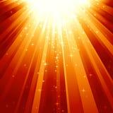 Estrellas mágicas que descienden en haces de luz Imagen de archivo libre de regalías