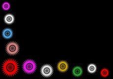 Estrellas multicoloras en negro. Foto de archivo libre de regalías
