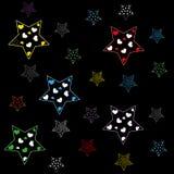 Estrellas multicoloras en un fondo negro ilustración del vector
