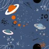 Estrellas, planetas, constelaciones, modelo inconsútil colorido ilustración del vector
