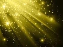 Estrellas que descienden en fondo de oro ilustración del vector
