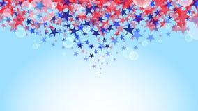 Estrellas rojas y azules con el bokeh aislado en vector azul claro del fondo libre illustration