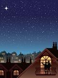 Estrellas sobre una ciudad ilustración del vector