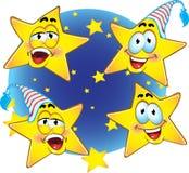 Estrellas sonrientes del oro de la noche ilustración del vector
