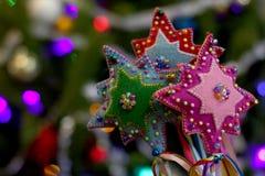 Estrellas tradicionales de la Navidad del arte popular del ornamento Foto de archivo libre de regalías