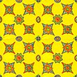 Estrellas vibrantes del color en fondo amarillo Modelo inconsútil ilustración del vector