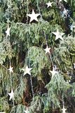 Estrellas y árbol de navidad Foto de archivo libre de regalías