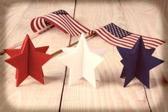 Estrellas y banderas del vintage Foto de archivo libre de regalías