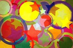 Estrellas y círculos en un papel. Fotos de archivo libres de regalías