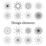 Estrellas y copos de nieve de los elementos del diseño Sistema de 16 elementos Imagen de archivo libre de regalías