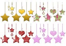 Estrellas y corazones colgantes Fotografía de archivo libre de regalías