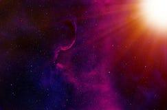Estrellas y fondo de los rayos de Sun stock de ilustración
