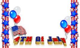 Estrellas y frontera patriótica de las rayas el 4 de julio ilustración del vector