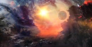 Estrellas y galaxias en el espacio exterior que muestra la belleza del espacio ex Fotografía de archivo libre de regalías