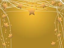 Estrellas y líneas abstractas de oro marco Imágenes de archivo libres de regalías