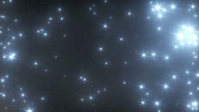Estrellas y nieve que caen del cielo en la noche almacen de video
