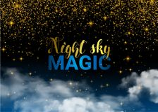 Estrellas y nube de la magia de la Navidad del cielo nocturno Espacio brillante de la pendiente Fondo transparente del diseño del Imagen de archivo
