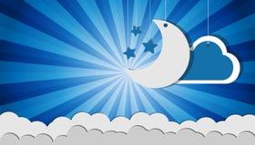 Estrellas y nubes colgantes - iconos de la luna del vector sobre el fondo azul del resplandor solar para las tarjetas y los carte stock de ilustración