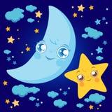 Estrellas y nubes de la luna de la historieta stock de ilustración