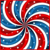 Estrellas y swirly rayas del indicador americano Ilustración del Vector
