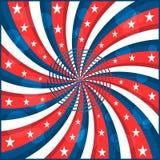 Estrellas y swirly rayas del indicador americano Fotografía de archivo libre de regalías