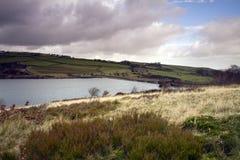 Estremità della diga del bacino idrico di Digley Fotografie Stock