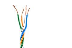 Estremità di cavo elettrico, isolata su bianco Immagini Stock
