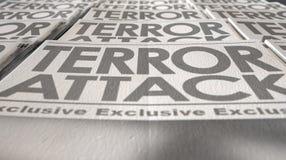 Estremità di funzionamento della stampa del terrorismo del giornale Immagini Stock