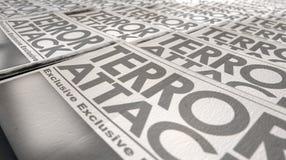 Estremità di funzionamento della stampa del terrorismo del giornale Fotografia Stock Libera da Diritti