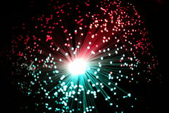 Estremità fresca dei fili a fibra ottica illuminati Fotografia Stock