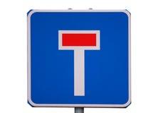 Estremità guasto del segnale stradale isolata su bianco Fotografia Stock