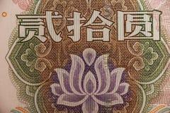 Estremo del fiore nella banconota cinese di yuan Fotografie Stock Libere da Diritti