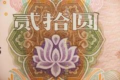 Estremo del fiore nella banconota cinese di yuan Fotografia Stock