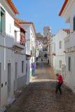 ESTREMOZ, PORTUGAL - 10 DE OUTUBRO DE 2016: Uma rua cobbled típica com a torre das três coroas Torre DAS Tres Coroas no imagem de stock