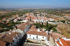 ESTREMOZ, PORTUGAL: View of the Old Town from the Tower of the Three Crowns Torre das Tres Coroas Royalty Free Stock Photo