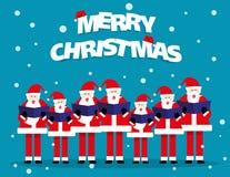 Estribillo de Navidad Papá Noel que canta en festival de la Navidad vector del concepto ilustración del vector