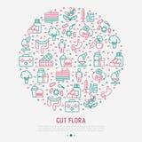 Estripe o conceito da flora no círculo com linha fina ícones ilustração stock