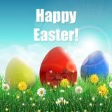 Estrowi jajka na trawy polu z błyskają i dzicy kwiaty Zdjęcie Royalty Free