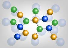 Estructura atómica de la molécula en la química, aislada Imágenes de archivo libres de regalías