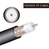Estructura coaxial del cable de la TV Clase de un cable eléctrico Imagen de archivo