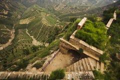 Estructura construida en las montañas en el lado de una colina, provincia de Shanxi, China Fotos de archivo