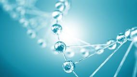 Estructura de las moléculas y del particl plateados del primer de la cadena de la DNA stock de ilustración