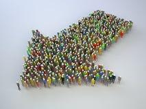 Estructura de mucha gente bajo la forma de flecha Imágenes de archivo libres de regalías