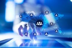 Estructura de organización de gente Hora Recursos humanos y reclutamiento Comunicación, tecnología de Internet Concepto del asunt imagenes de archivo