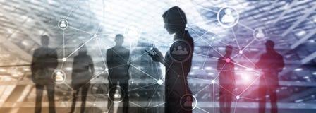 Estructura de red de la gente de la exposición doble Hora - Gestión de recursos humanos y concepto del reclutamiento imagen de archivo